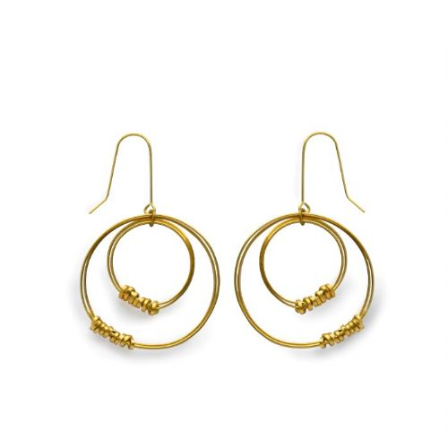 Brass Ribbon Offset Hoop Earrings